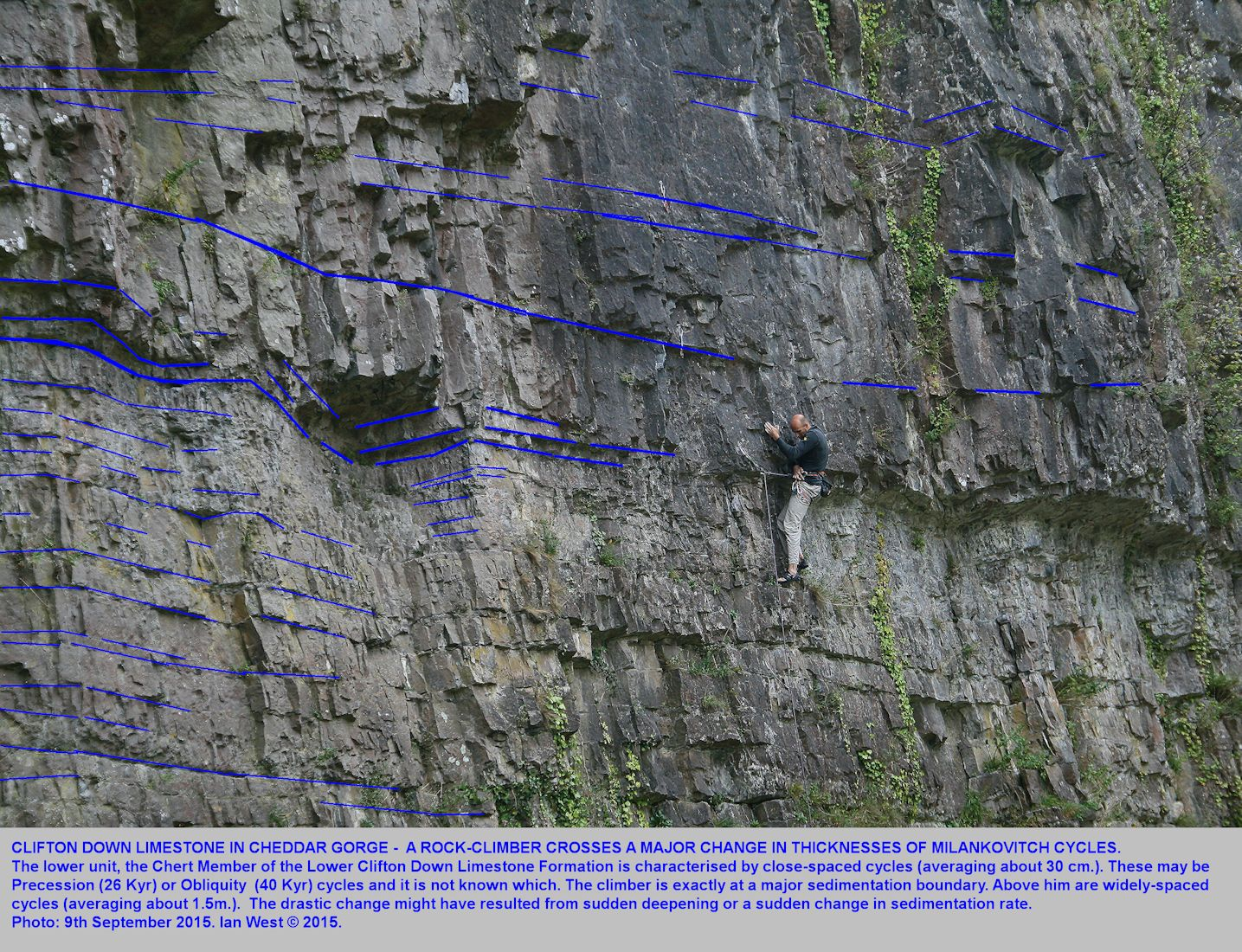 A rock climber at the overhang above the Chert Member of the Lower Clifton Down Limestone Formation, Cheddar Gorge, Mendip Hills, Somerset, 9th September 2015