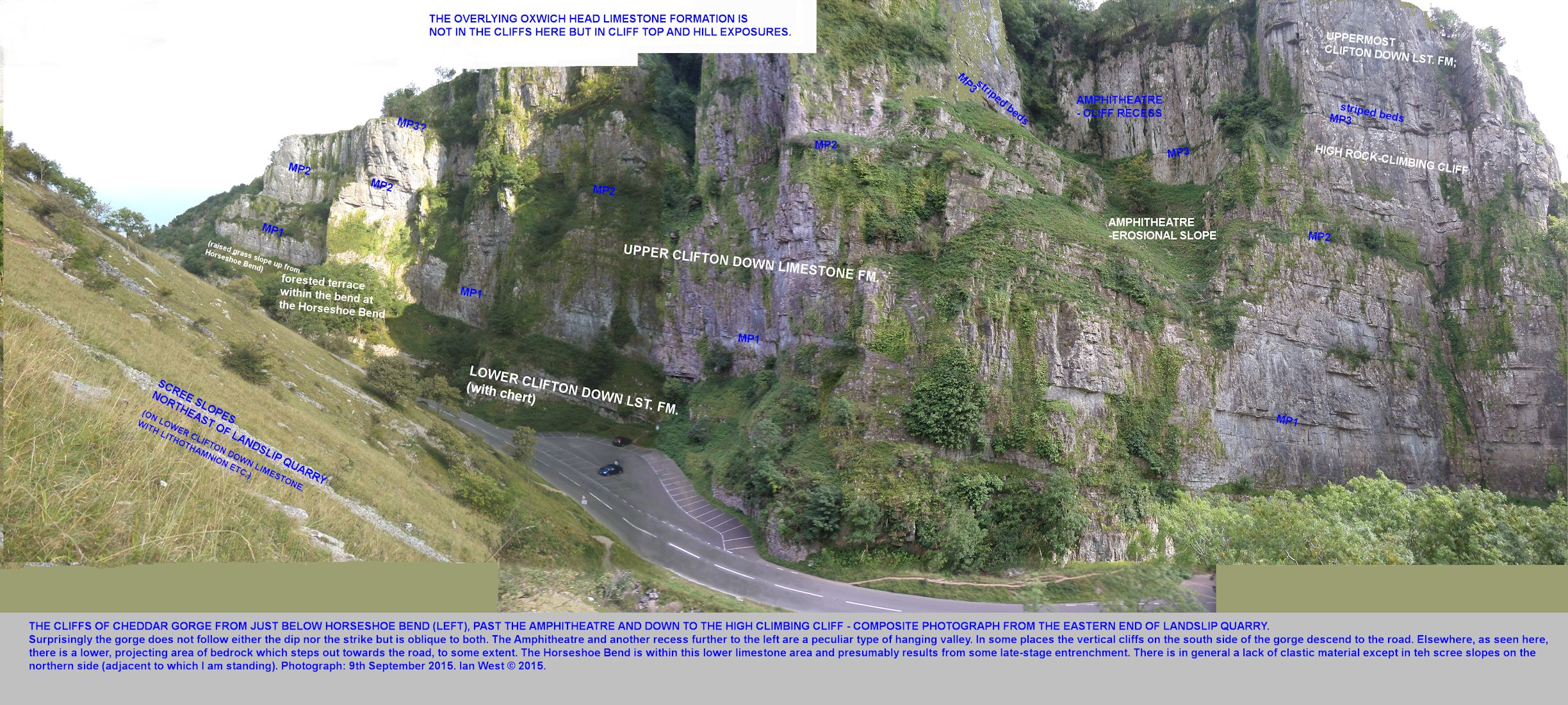 Long composite photograph showing the cliffs between the Landslip area and Horseshoe Bend, with correlation of major partings (bedding-parallel) in the Clifton Down Limestone, Cheddar Gorge, Mendip Hills, Somerset