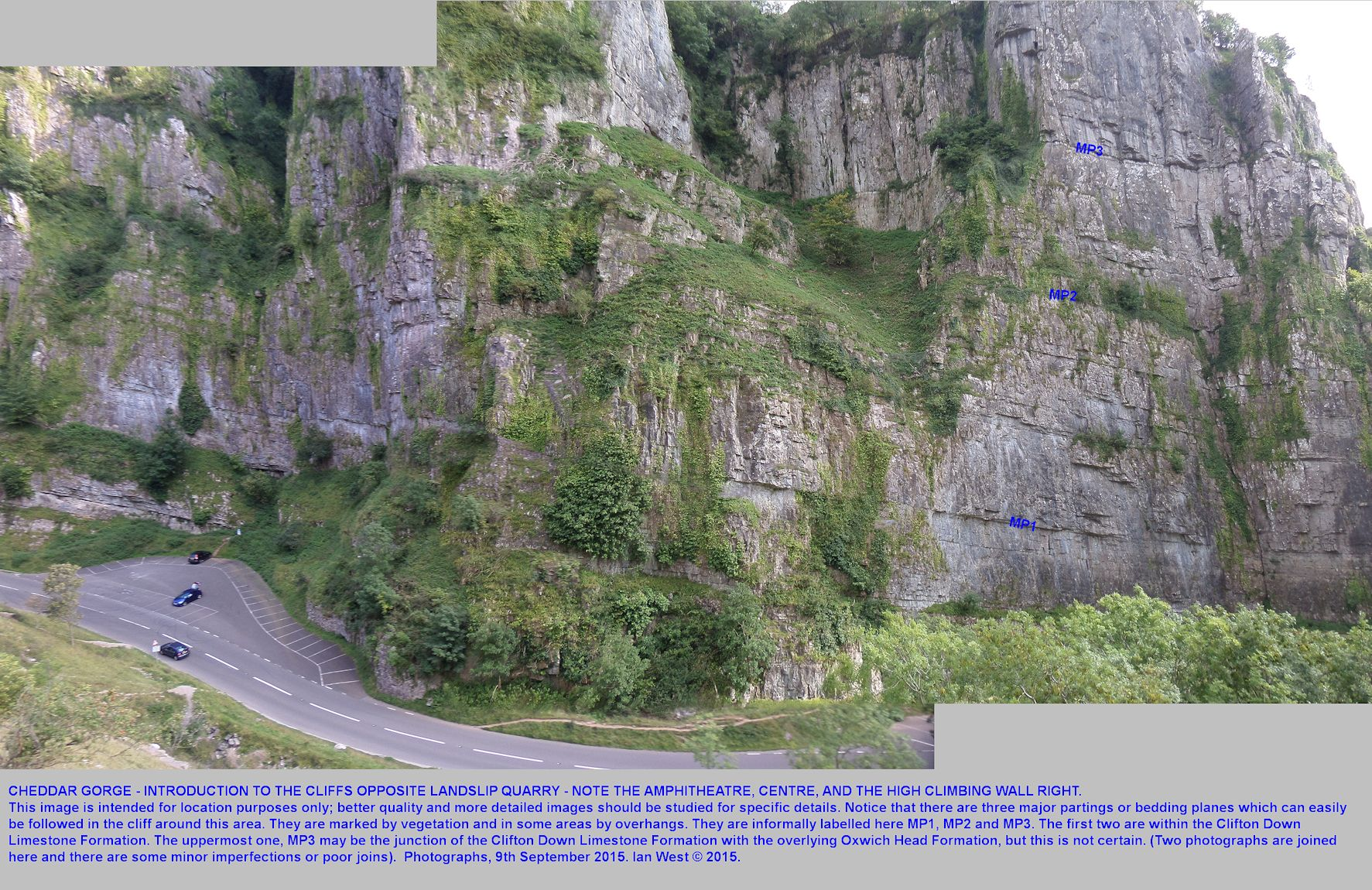 A general view of the cliffs seen to the south of Landslip Quarry, Cheddar Gorge, including the grassy Amphitheatre and the high, vertical cliff, on the right, frequently used for rock-climbing