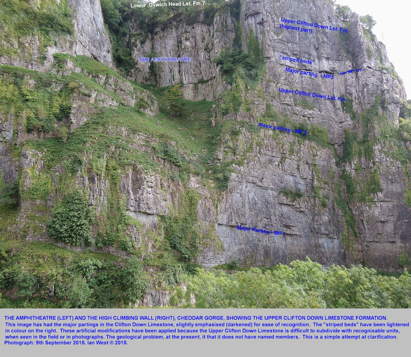 The Amphitheatre and the high climbing cliff at Cheddar Gorge, Mendip Hills, Somerset, all being Upper Clifton Down Limestone, but with some artificial lightening of the striped beds and some darkening of the major partings