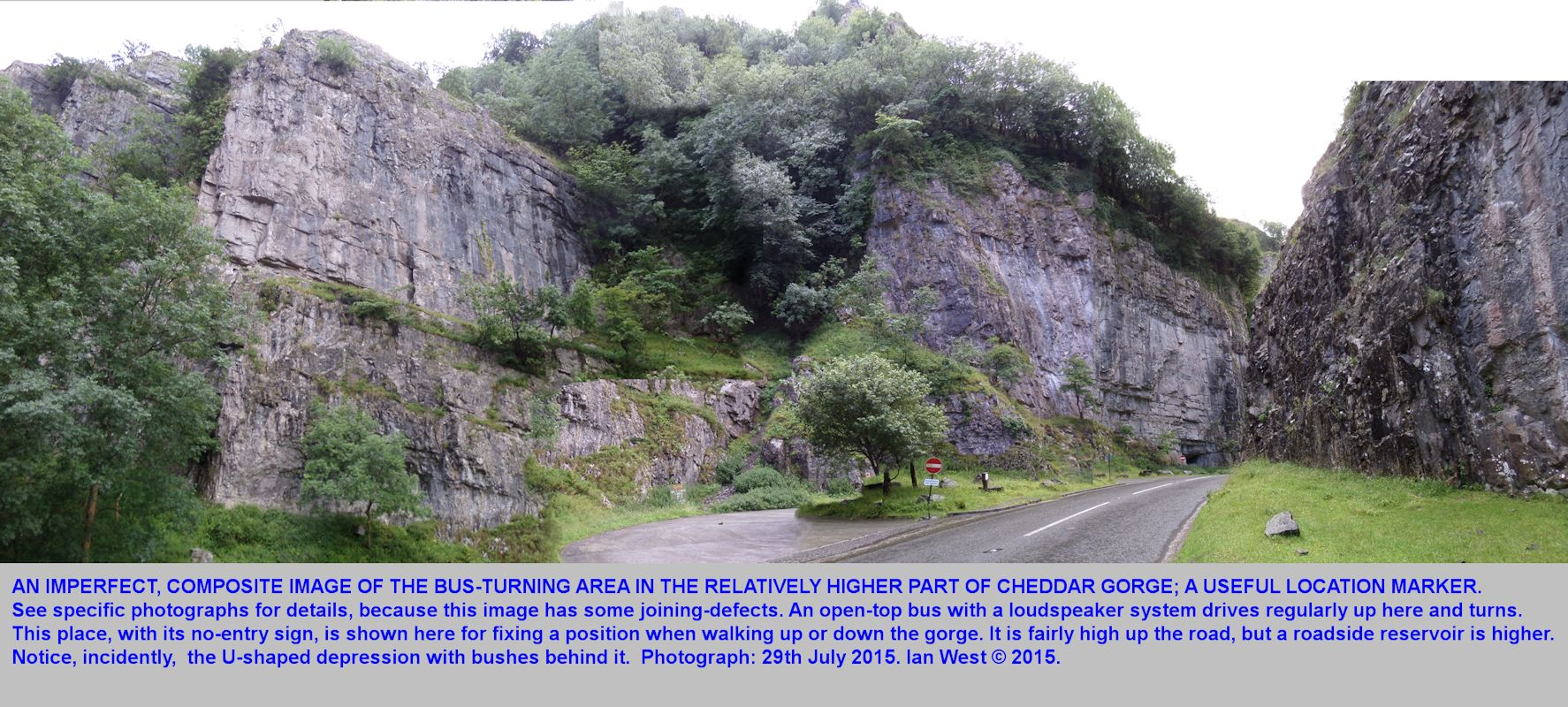 A composite image for location purposes, the bus turning area, up Cheddar Gorge, Mendip Hills, Somerset, 29th July 2015