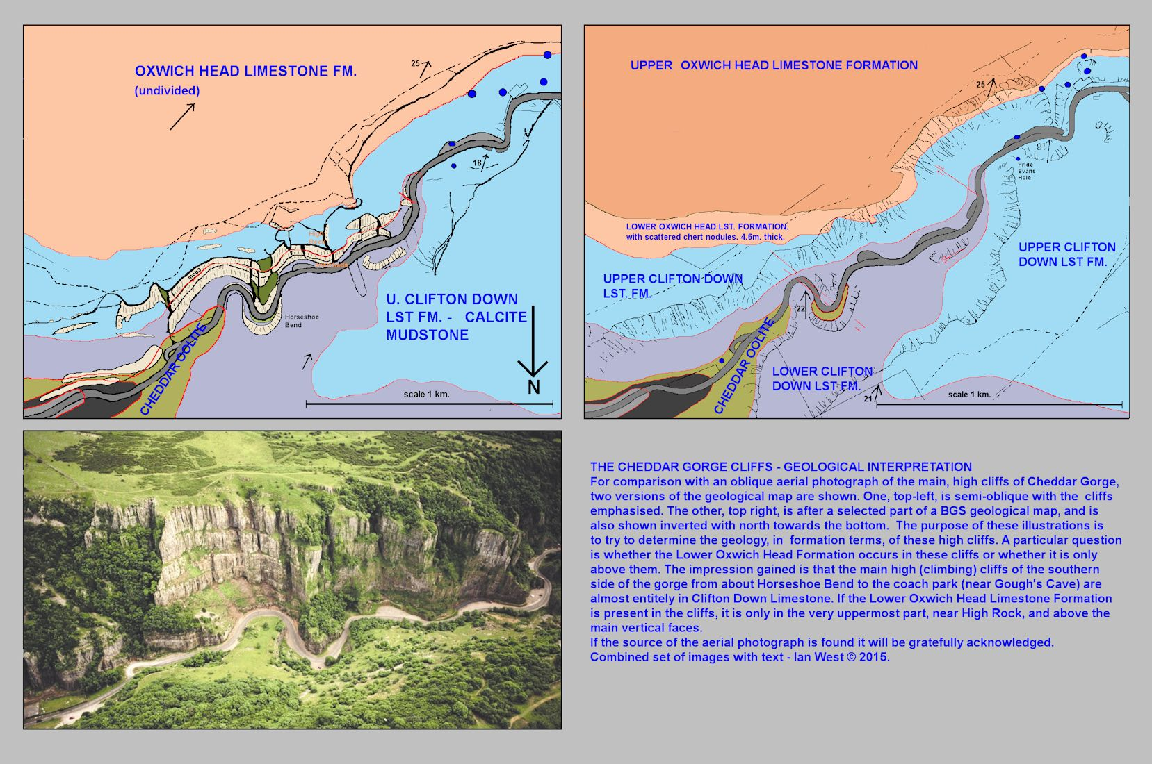 Cheddar Cliffs in lower Cheddar Gorge with diagrams relating topographic features and geological outcrops, Mendip Hills, Somerset