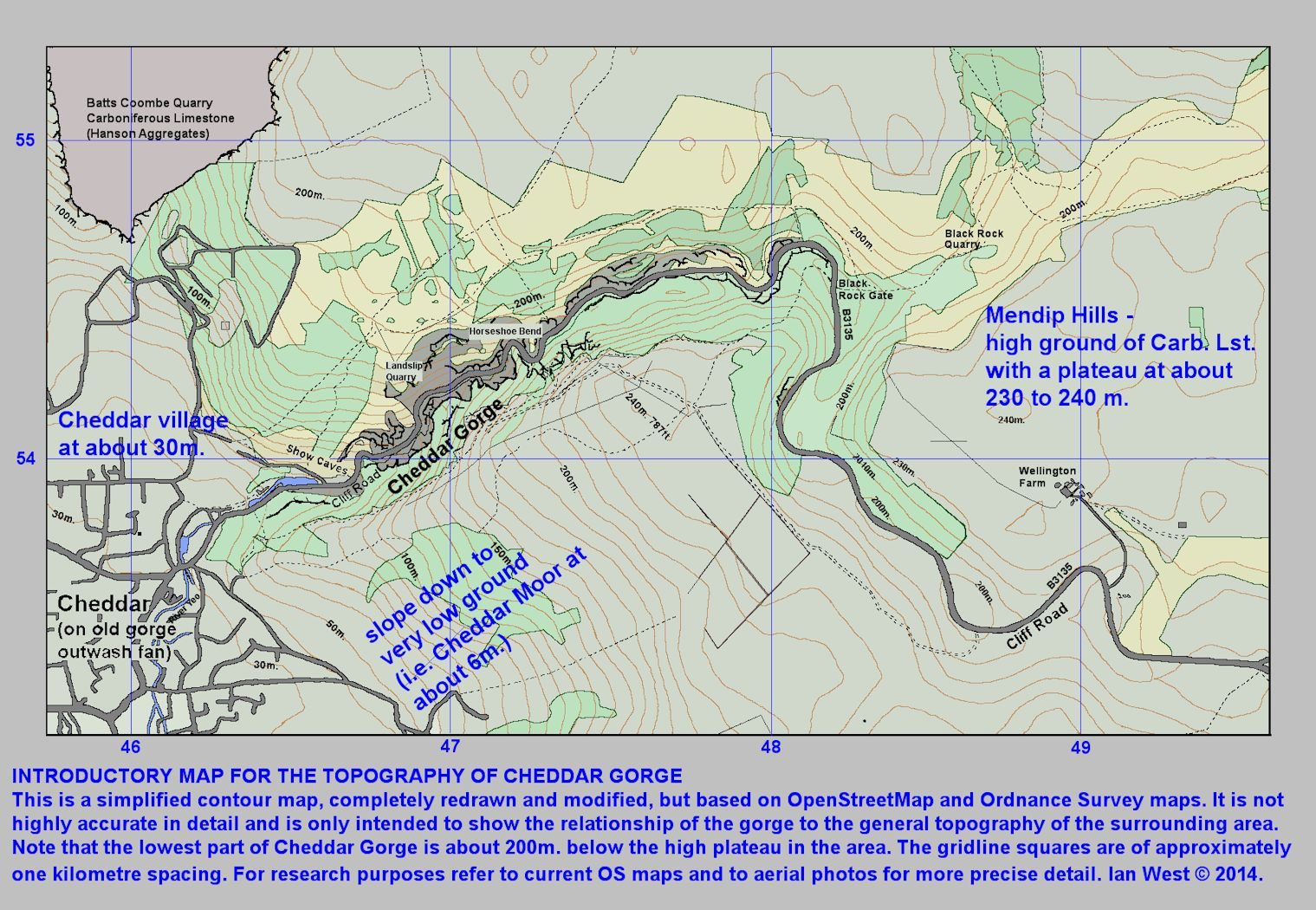 An introductory and simplified contour map of Cheddar Gorge, Mendip Hills, Somerset