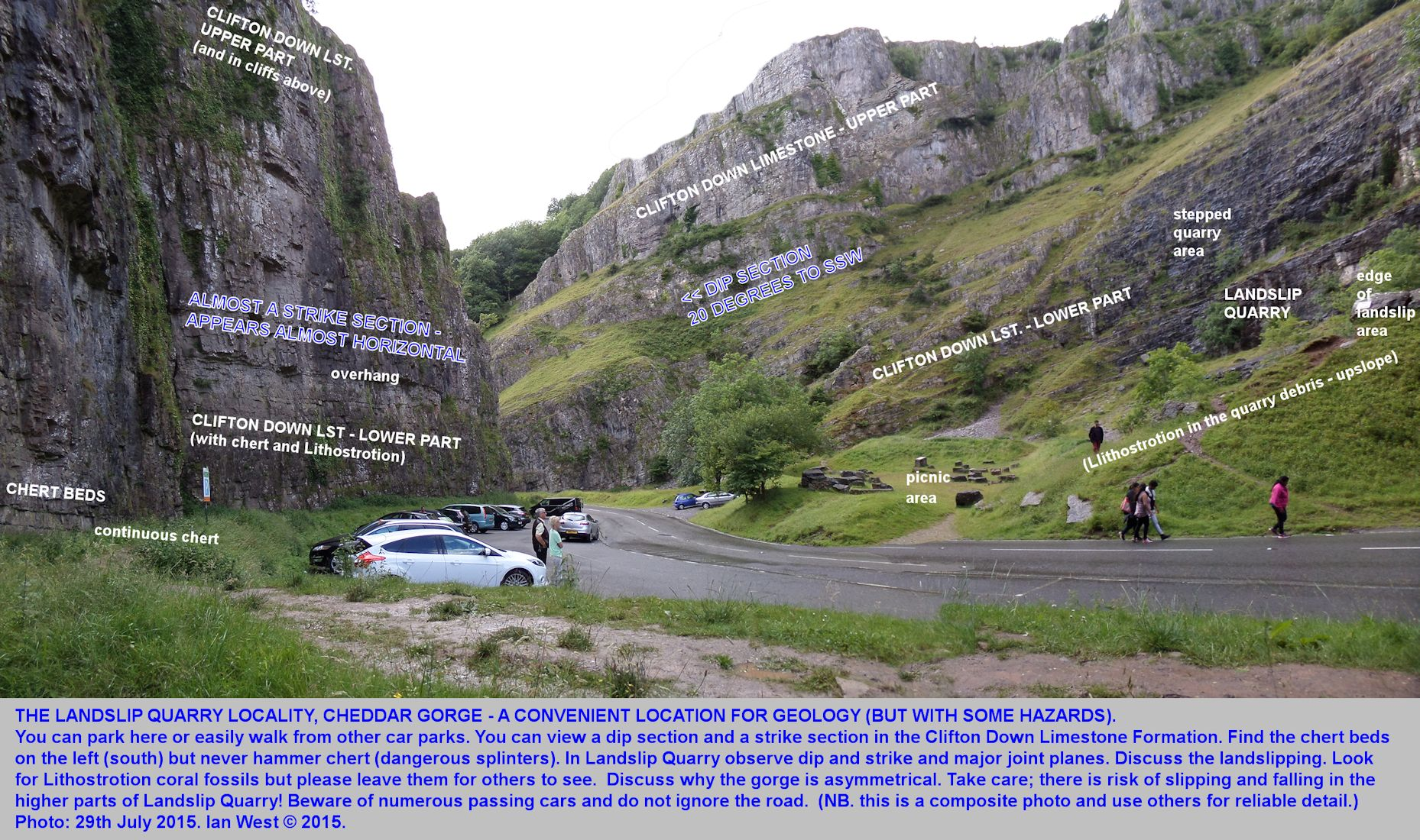 A general, labelled, introductory view of the Landslip Quarry area, showing both sides of the road, Cheddar Gorge, Mendip Hills, Somerset