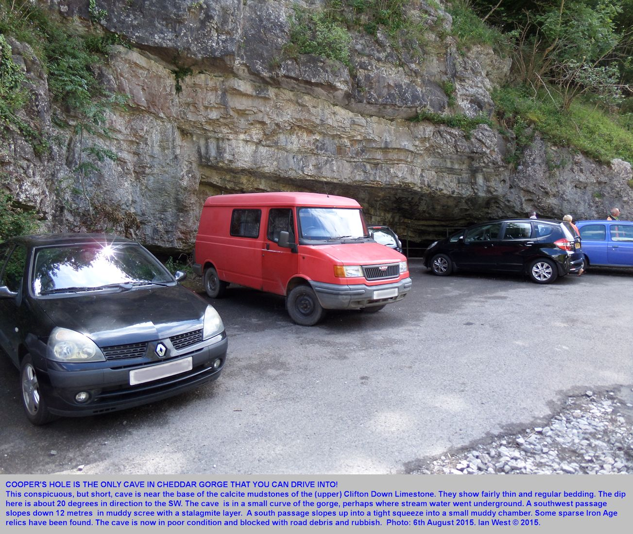 Cooper's Hole cave in a car park in Cheddar Gorge, Mendip Hills, Somerset