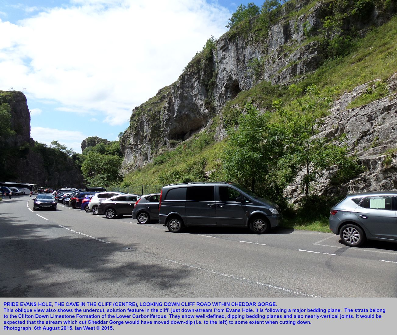 A view down Cheddar Gorge at the cave of Pride Evans Hole, Mendip Hills, Somerset, 6th August 2015