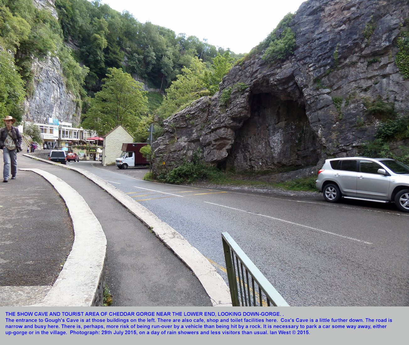 A down-gorge view to the Gough's show-caves entry area and shop and cafe at Cheddar Gorge, Mendip Hills, Somerset, 29th July 2015