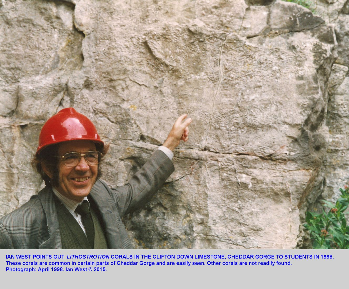 Ian West points out the coral Lithostrotion in the Clifton Down Limestone, lower part of Cheddar Gorge, Mendip Hills, Somerset, in April 1998