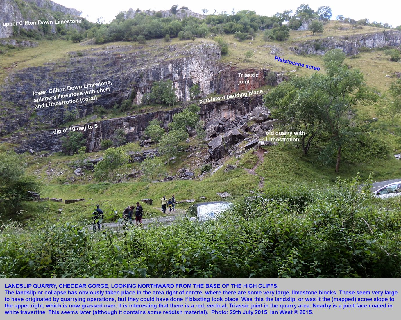 A general view of Landslip Quarry, Cheddar Gorge, Mendip Hills, Somerset, 20th July 2015