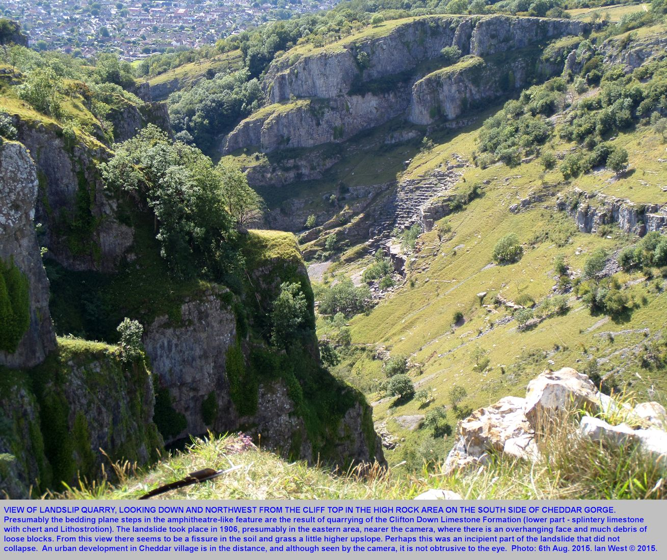 A view obliquely downwards towards Landslip Quarry in Cheddar Gorge, Mendip Hills, Somerset, taken from near High Rock