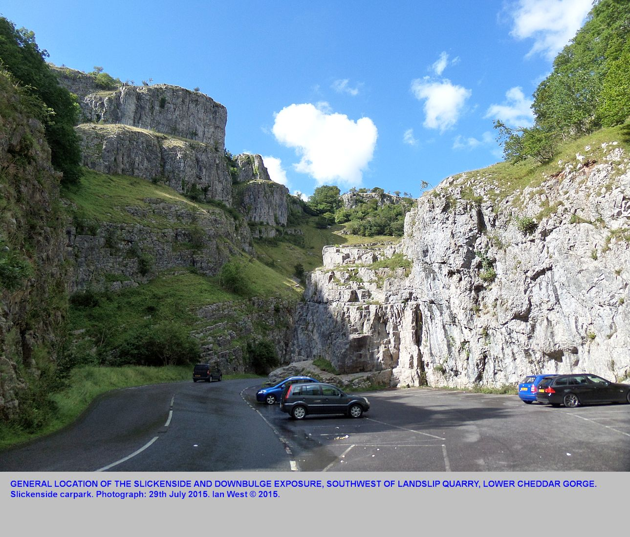 The location of the slickenside and downbulge section in a car park, lower Cheddar Gorge, Mendip Hills, Somerset, 29th July 2015