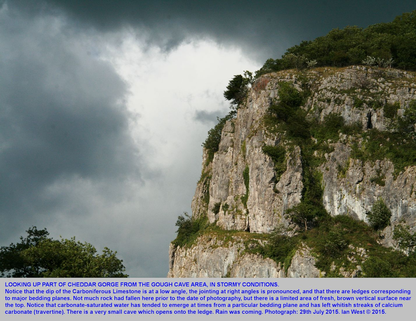 From near Gough's Cave, looking up Cheddar Gorge, Mendip Hills, Somerset, in stormy conditions, with approaching rain