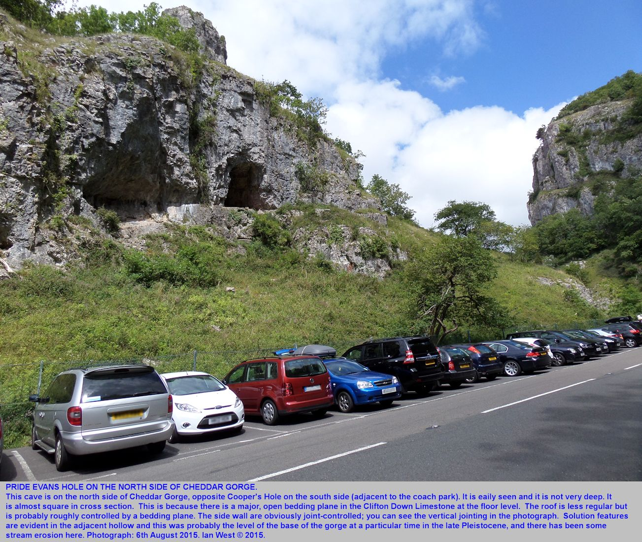 A view of Pride Evans' Hole, a short cave in Cheddar Gorge, Mendip Hills, Somerset, 6th August 2015