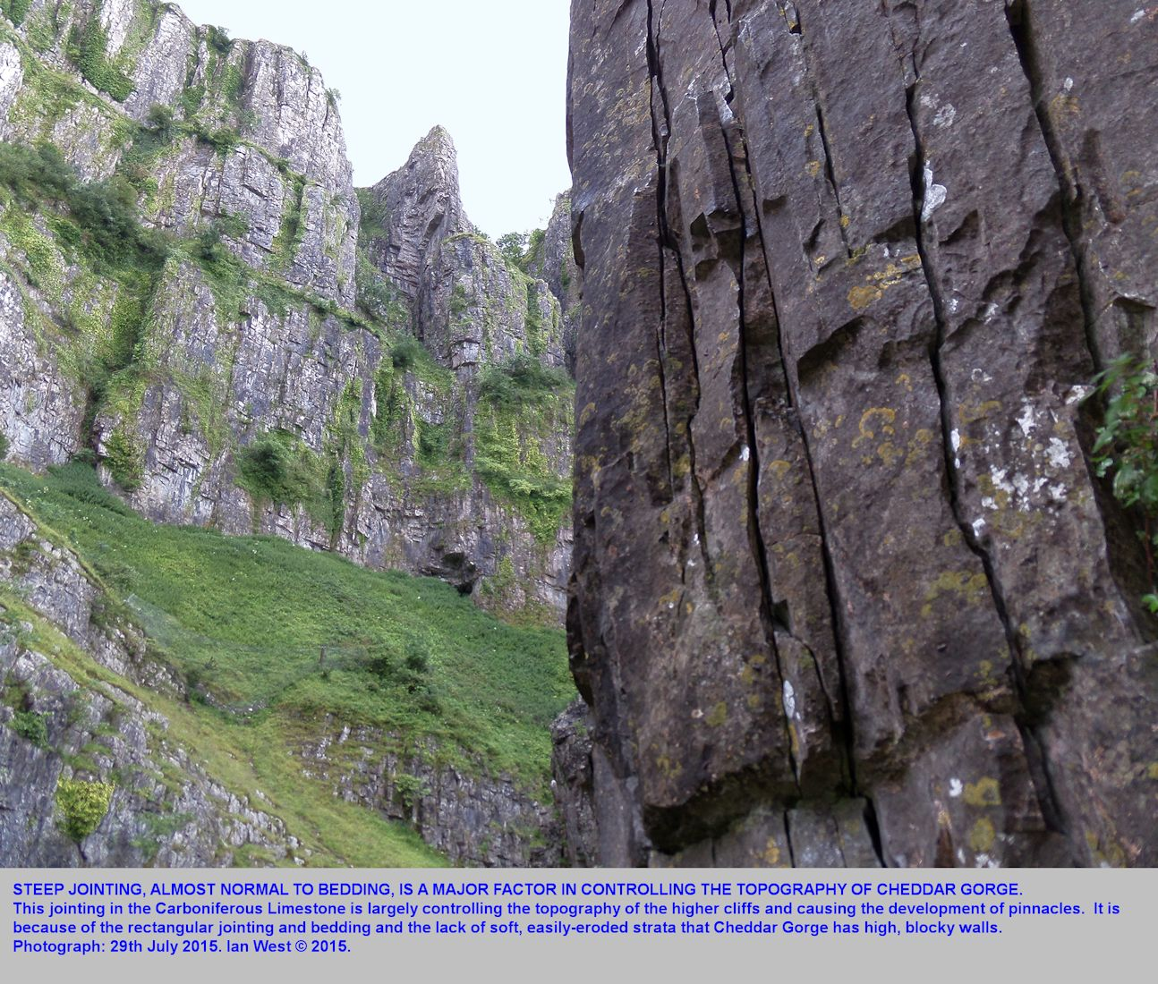 Rectilinear jointing and bedding are structures controlling the topography of the cliffs of Cheddar Gorge, Mendip Hills, Somerset, 29th July 2015