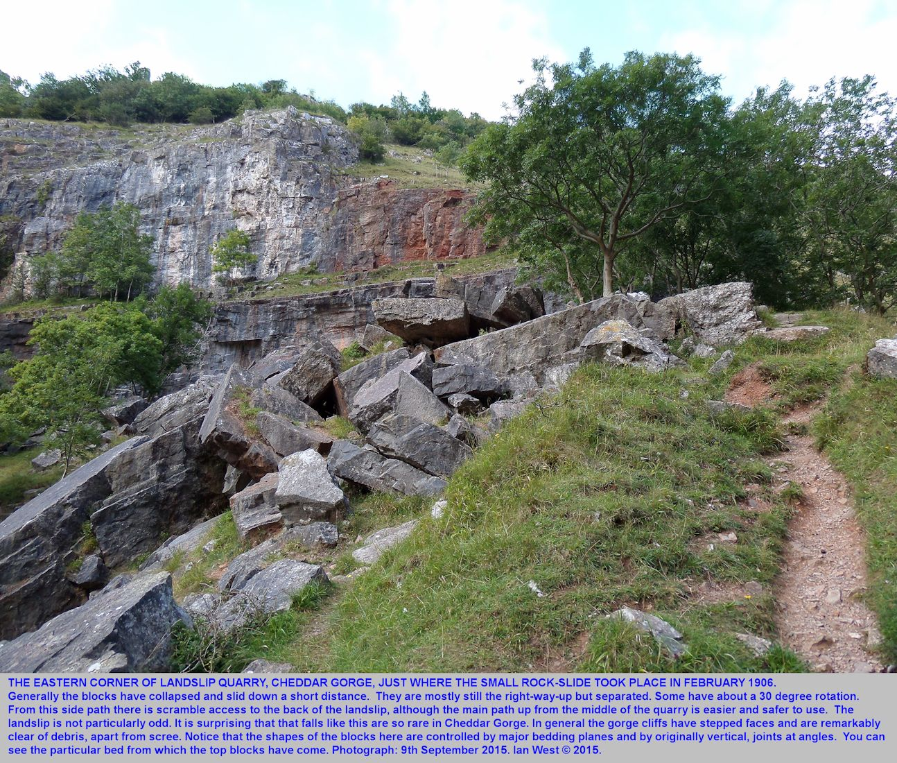 The fallen slabs at Landslip Quarry, Cheddar Gorge, Mendip Hills, Somerset, seen from close up on the adjacent path
