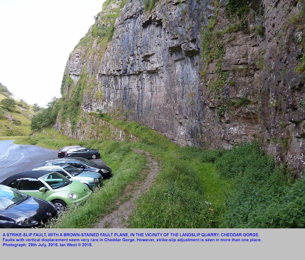 A strike-slip fault seen in the vicinity of the Landslip Quarry, but south cliffs, Cheddar Gorge, Mendip Hills, Somerset, 29th July 2015