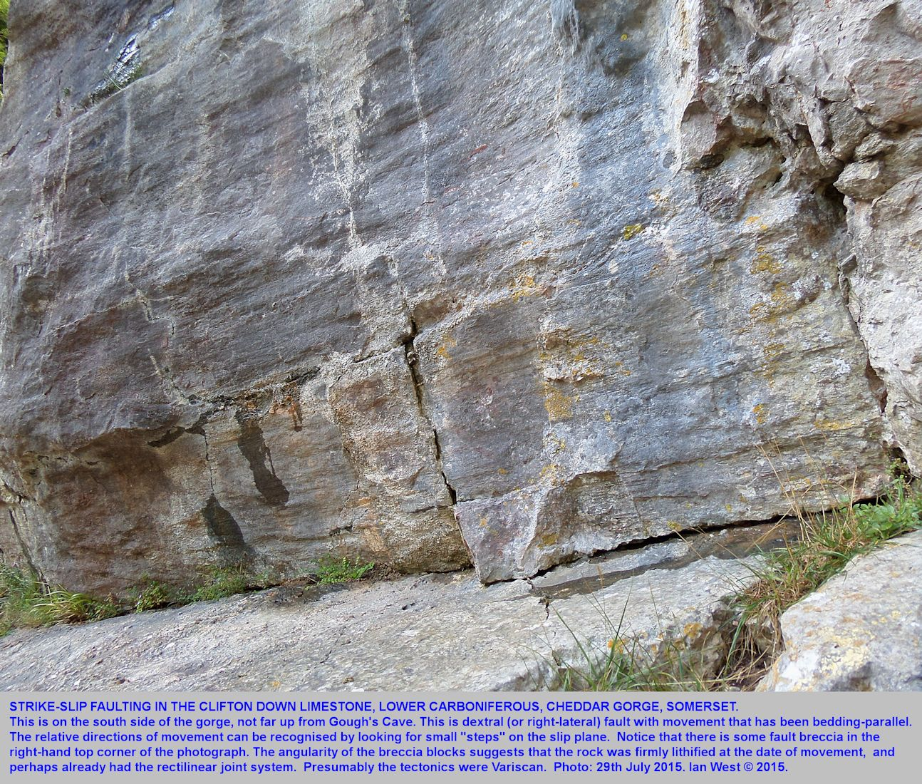 Strike-slip faulting in the lower part of Cheddar Gorge, Mendip Hills, Somerset, 29th July 2015