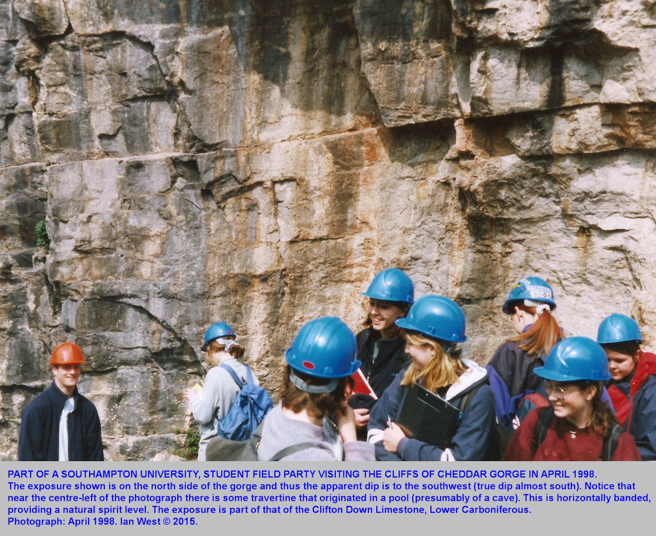 A Southampton University student field trip to Cheddar Gorge, Mendip Hills, Somerset, in April 1998