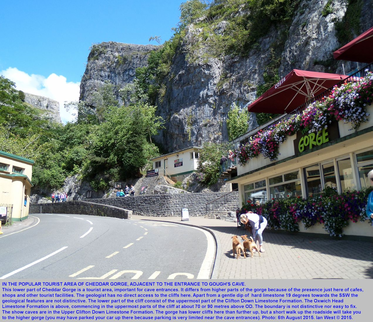 The tourist area near the entrance to Gough's Cave, Cheddar Gorge, Mendip Hills, Somerset