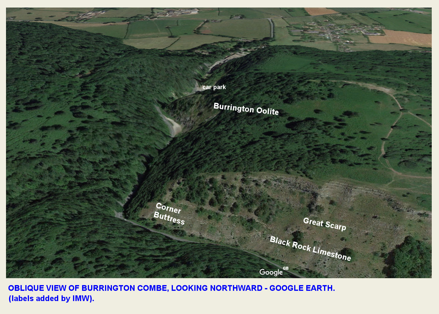 An oblique, northward, aerial view of Burrington Combe, based on GoogleEarth