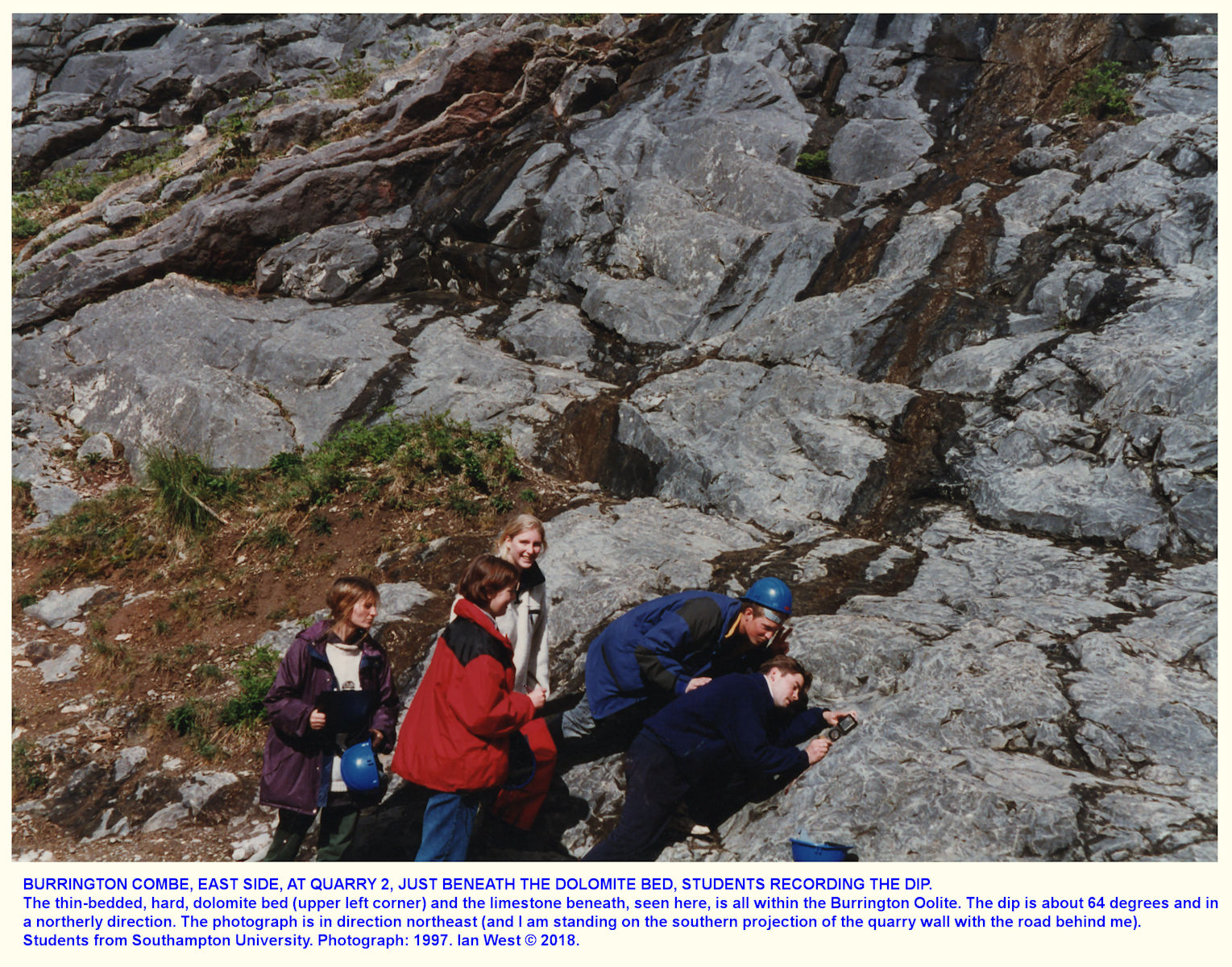 Students taking dip readings just stratigraphically below the dolomite bed, or rib, in the Burrington Oolite, Burrington Combe, 1997