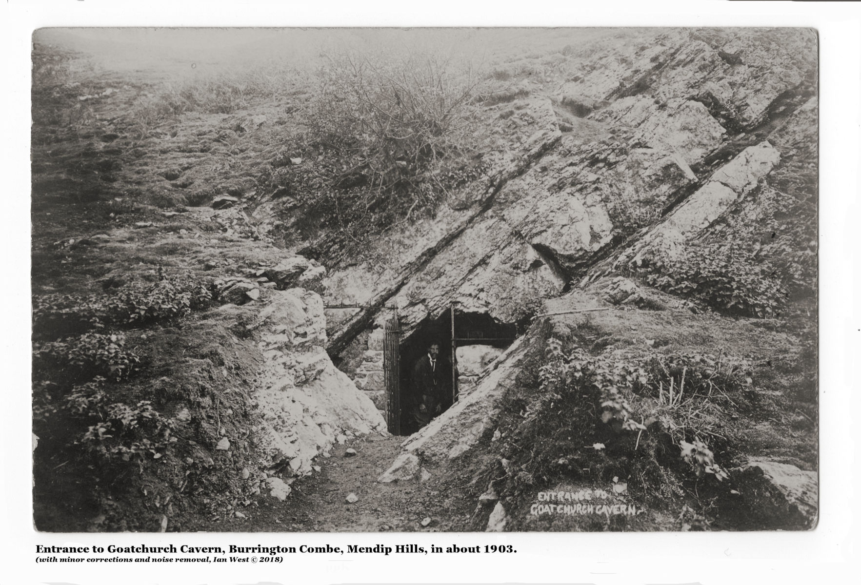 An old photograph of the entrance to Goatchurch Cavern, Burrington Combe, in about 1903, when it was, at least in part, a show-cave