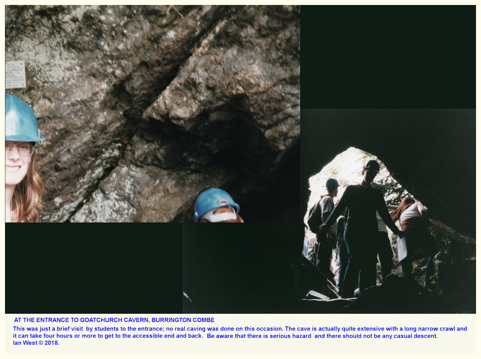 At the entrance to Goatchurch Cavern, Burrington Combe, in 1998