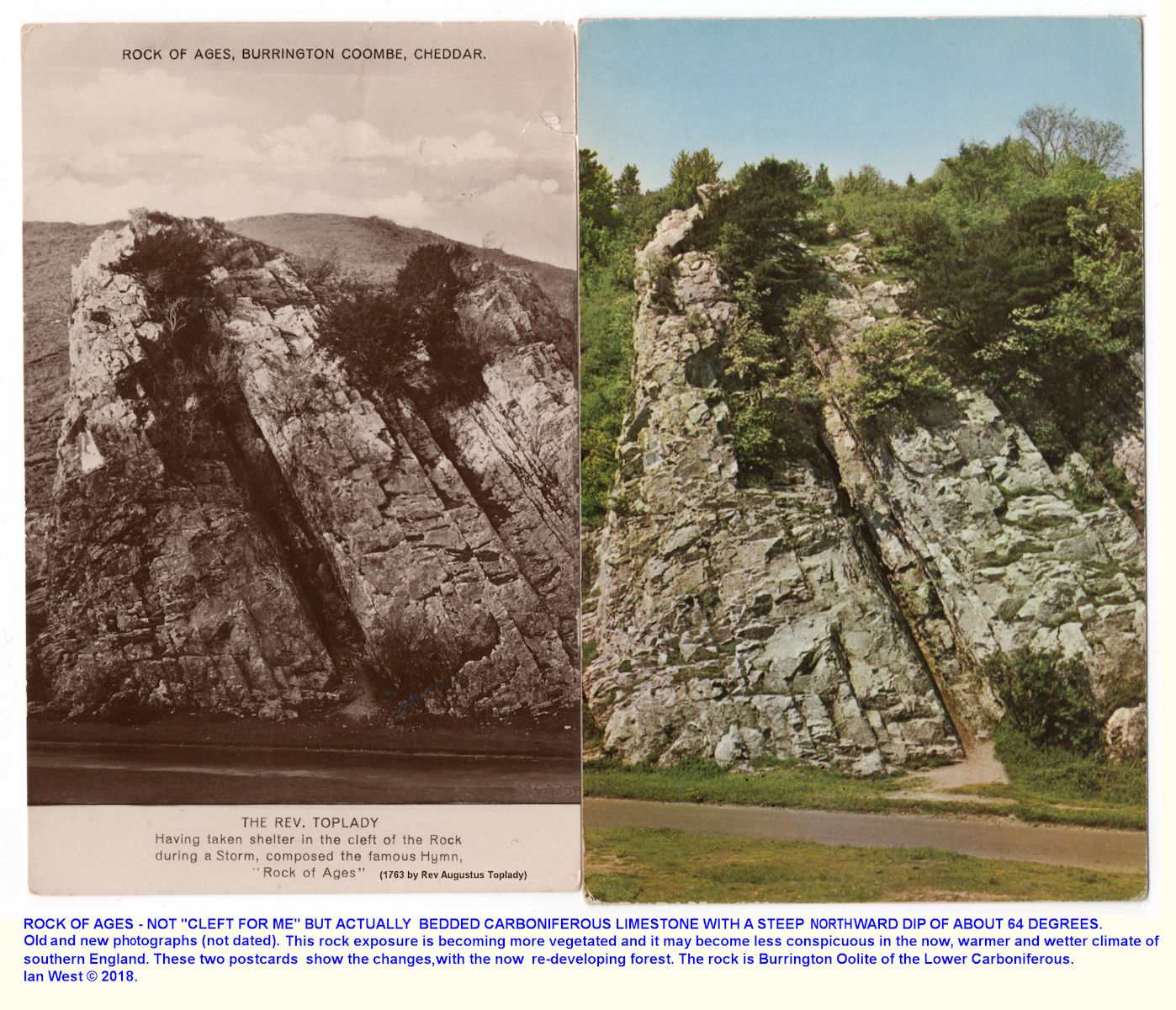 The Rock of Ages in Burrington Combe in old and new photographs, actually a stream-cut exposure of north-dipping, Burrington Oolite of the Lower Carboniferous Limestone