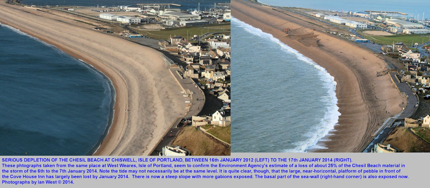 Comparative photographs of the Portland end of the Chesil Beach, Dorset, in 2012 and in 2014 after the storm of 6-7th January