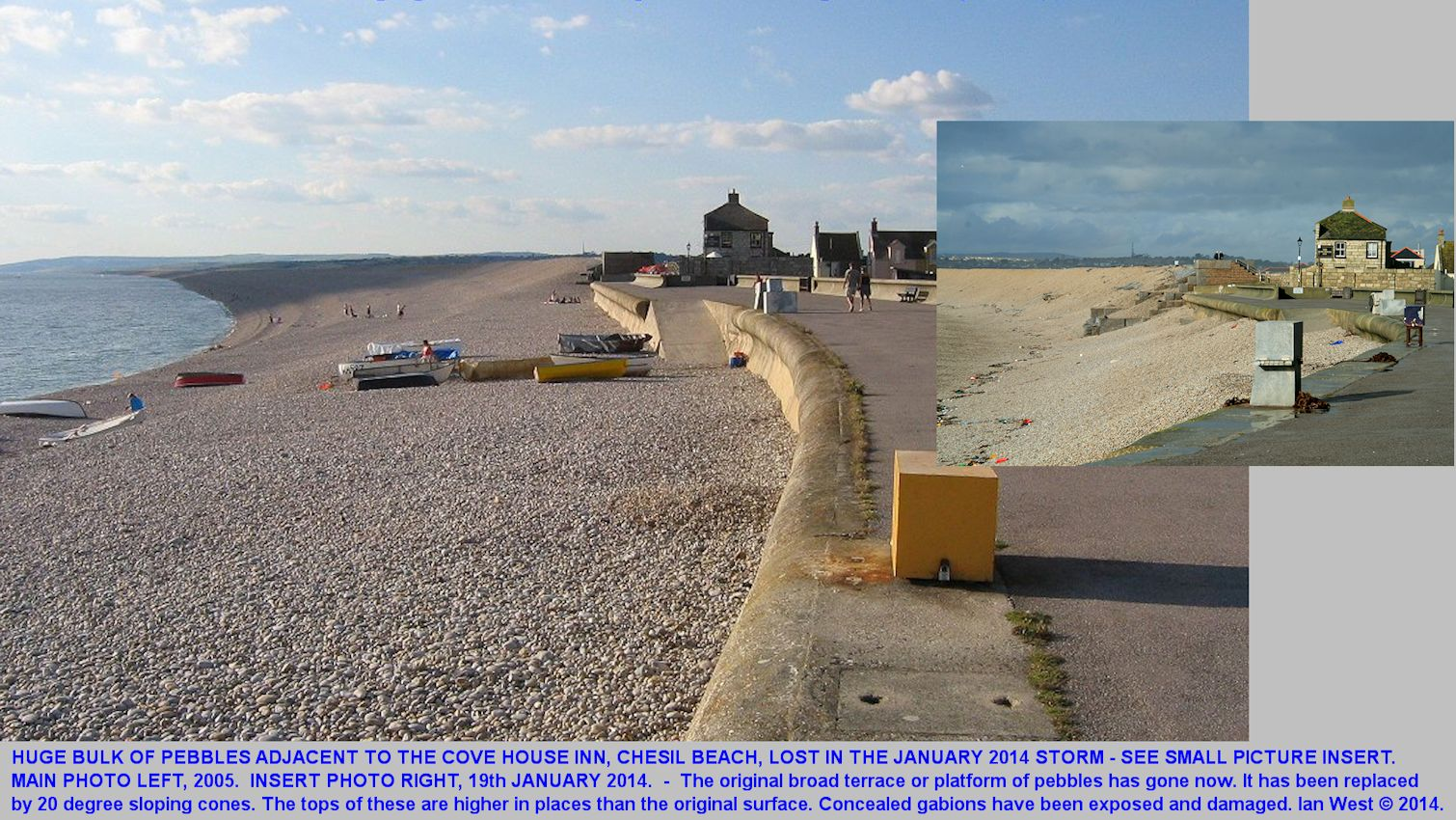 Comparison of the Chesil Beach at the Cove House Inn in 2005 and January 2014, oblique views from the promenade, Chesil Cove, Dorset