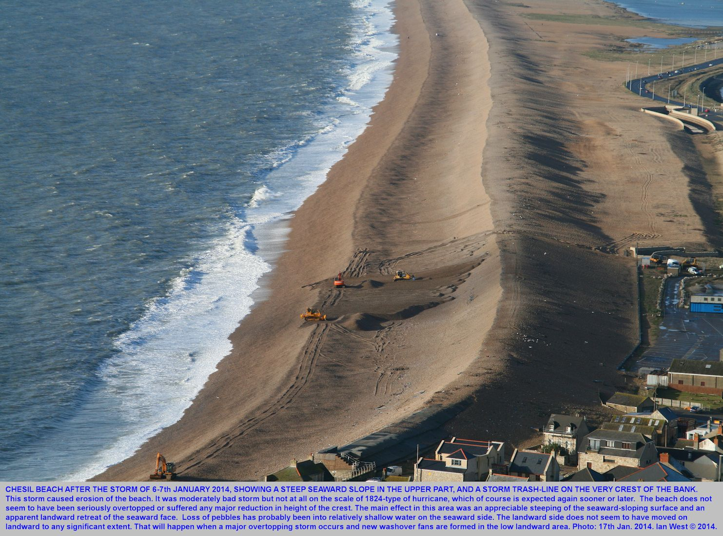 An overview of part of the Chesil Beach at Chiswell after the storm of 6-7th January 2014
