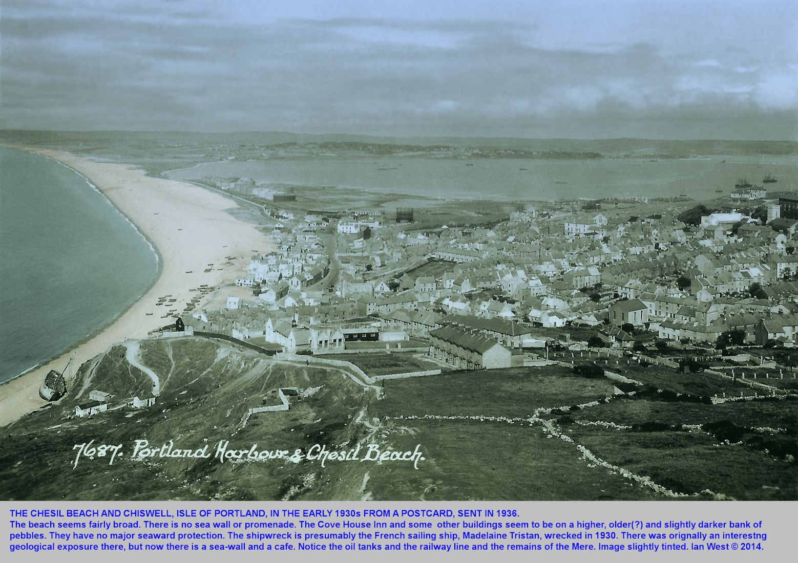 A postcard view of the Chesil Beach in quiet conditions in the early 1930s, with the card sent in 1936