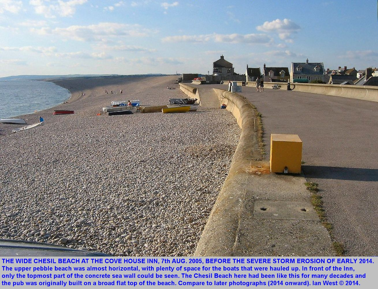 The Chesil Beach at the Cove House Inn on the 7th August 2005, at 6.41pm, Chiswell, Isle of Portland, Dorset, to show the situation before the erosion of early 2014