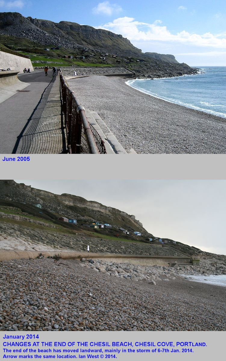 A comparison of the location of the Portland end of the Chesil Beach at Chesil Cove, in June 2005 and after the storm of the 6-7th January, 2014