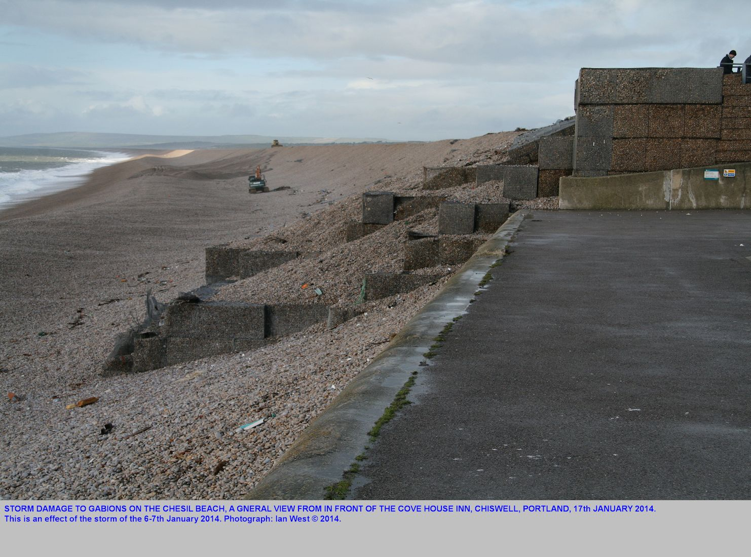 A general view of the damaged gabions of the Chesil Beach, on the 17th January 2014, near the Cove House Inn, and after the storm of the 6-7th January 2014