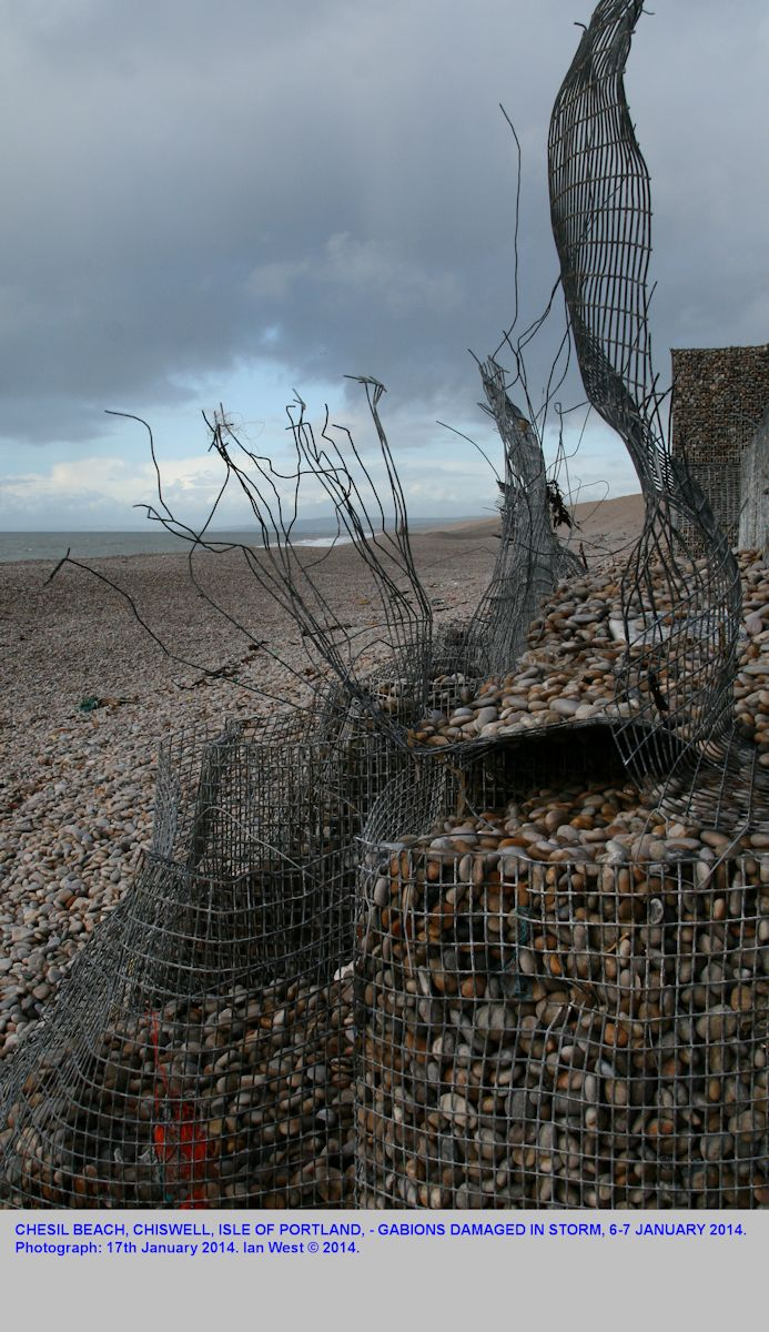 Gabions burst open by the storm of the 6-7th January 2014, Chiswell, Chesil Beach, Dorset