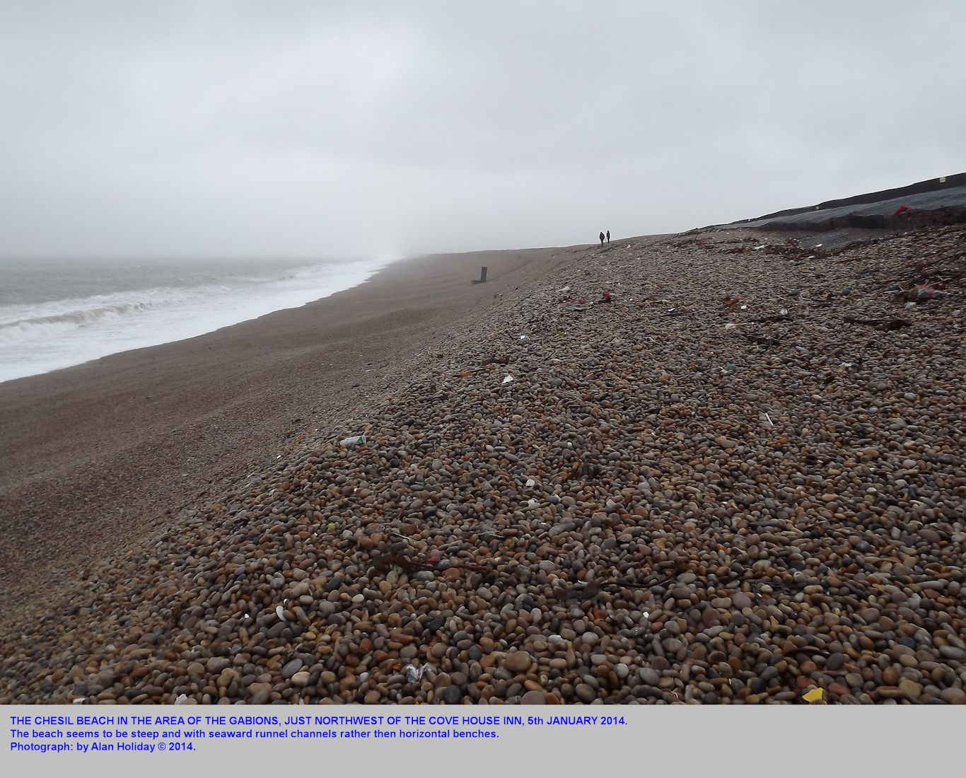 The Chesil Beach just northwest of the Cove House Inn, 5th January 2014, after bad weather but before the main storm of the 6th-7th January, photograph by Alan Holiday