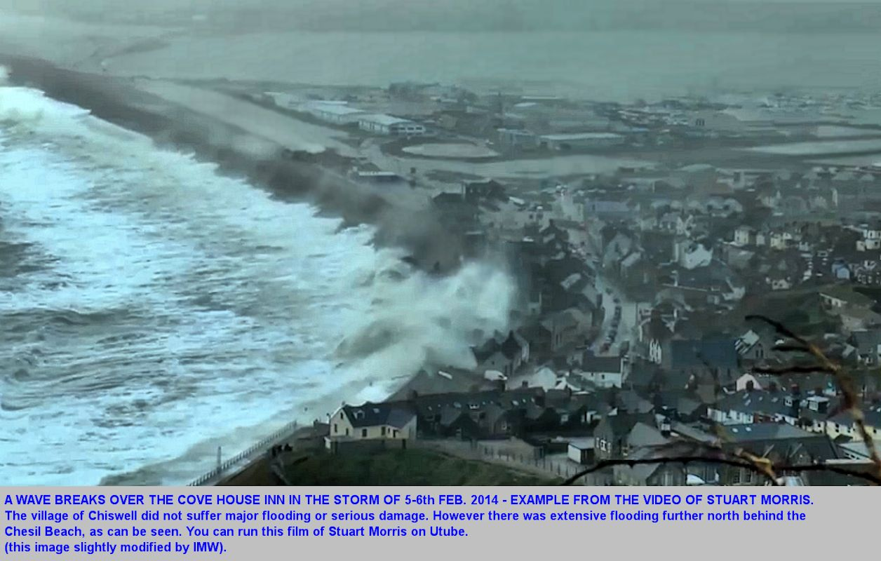 An example photograph from the film of Stuart Morris on Utube, showing the storm of 5-6th February 2014 with a wave breaking spray above the Cove House Inn, Chesil Beach, Dorset