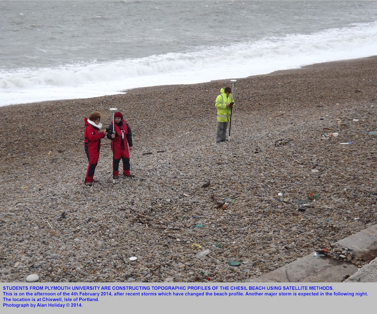 Students from Plymouth University use satellite methods to determine a cross-section profile of the Chesil Beach near the Cove House Inn, Chiswell, Dorset