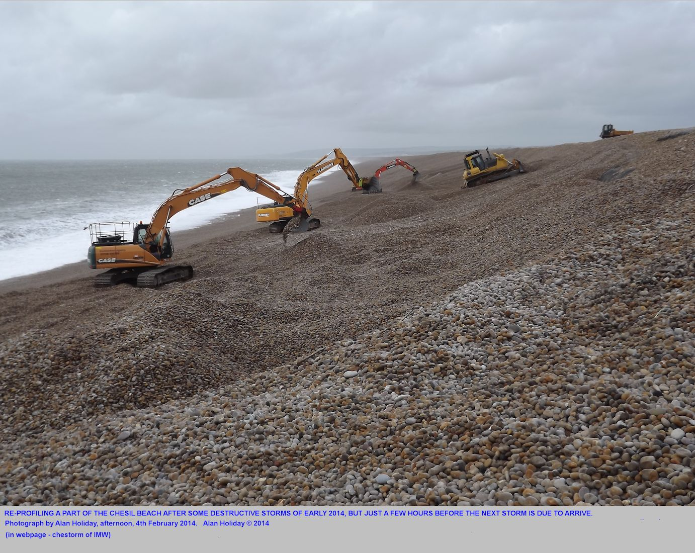 Profiling a small part of the Chesil Beach using machines; work by the Environment Agency, north Chiswell, Dorset, 4th February 2014; photograph by Alan Holiday
