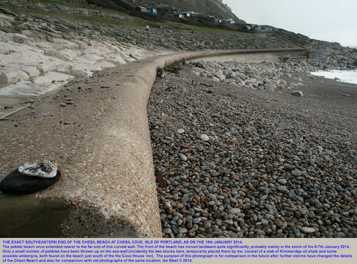 The Portland end of he Chesil Beach on the 19th January 2014, showing the extent of landward retreat