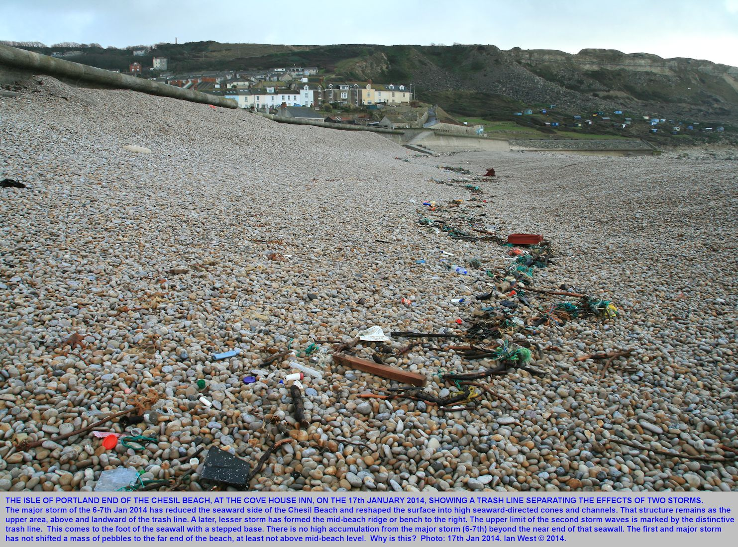 A trash line near the Cove House Inn,   Chesil Beach, Chiswell, Dorset, showing the limits of particular storm activity, Dorset, 17th January 2014