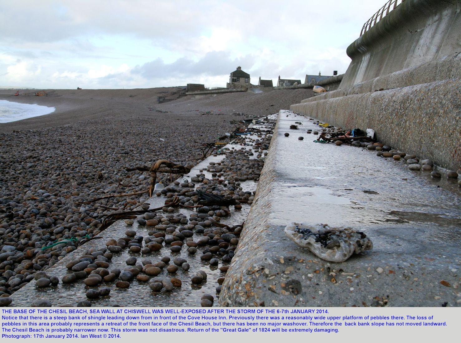 Under the seawall at Chiswell, Chesil Beach, Dorset, in January 2014 after the storm of 6th to 7th January 2014