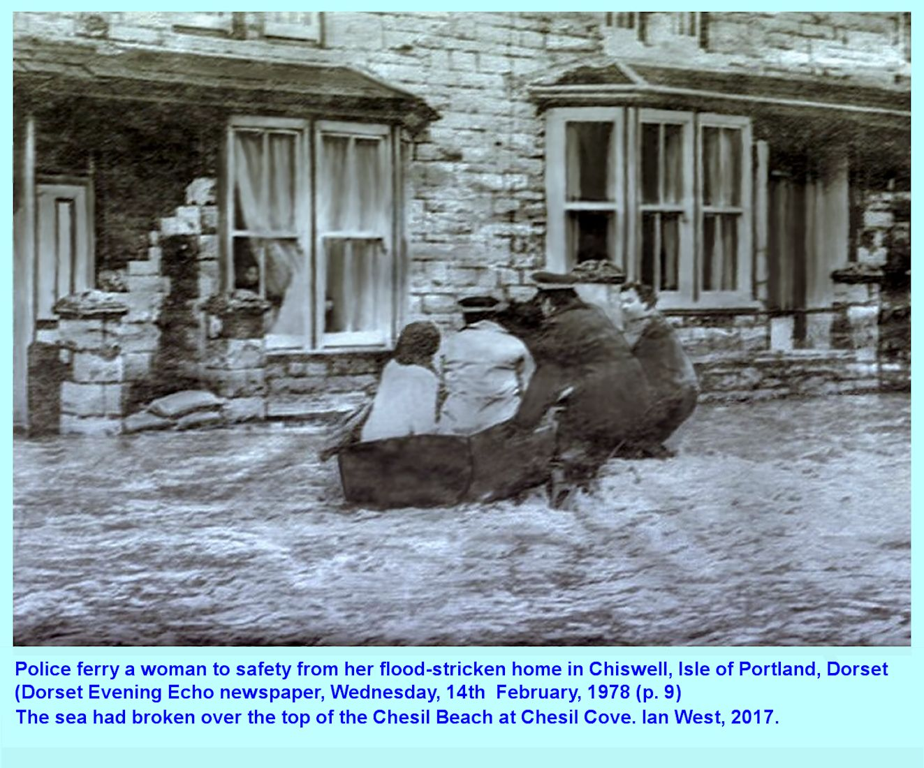 Rescue of a resident from the sea flood at Chiswell, behind the Chesil Bank, Isle of Portland, Dorset in February, 1978, by the police with a boat; someone else waits at a window