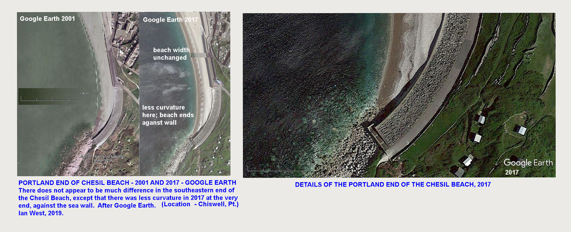 Limited changes, shown in comparison, from 2001 to 2017 at the southeastern end of the Chesil Beach