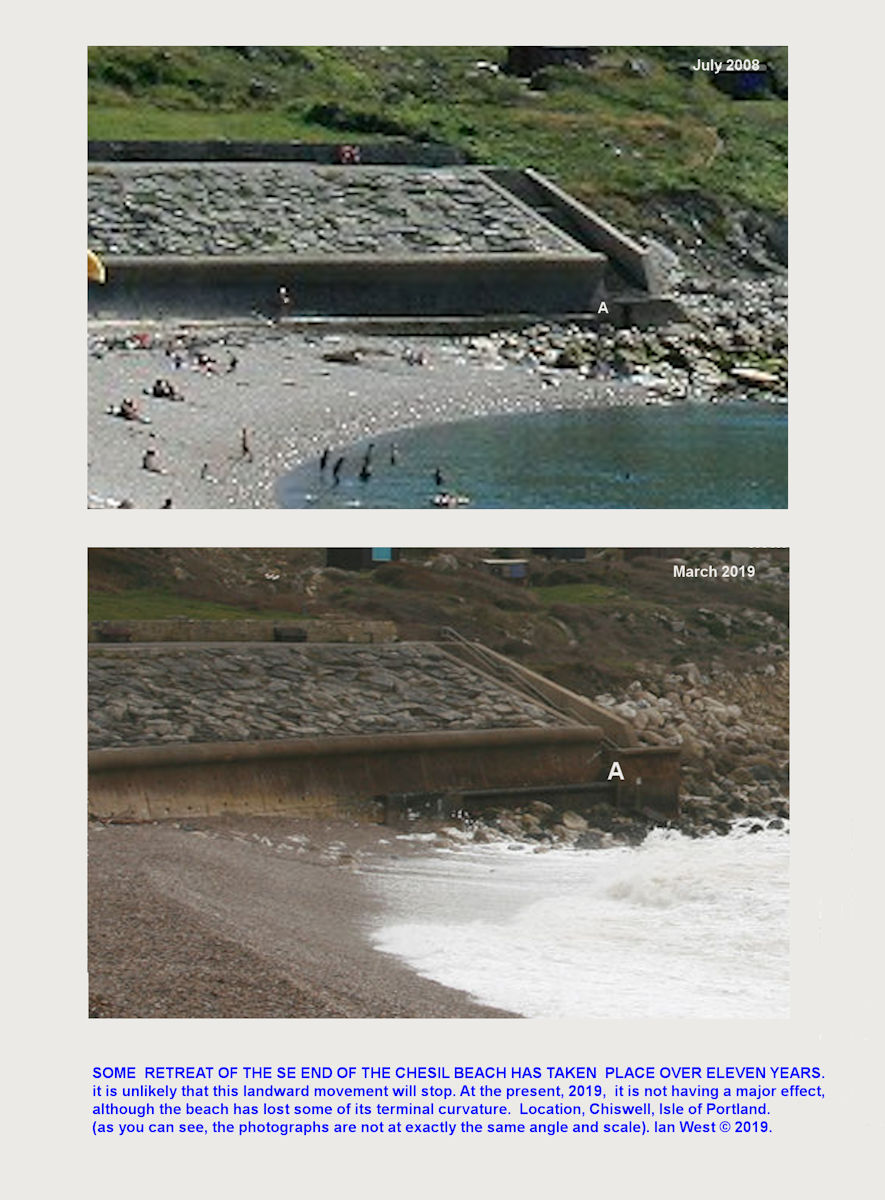 Comparative photographs showing the retreat of the Portland end of the Chesil Beach from 2008 to 2019