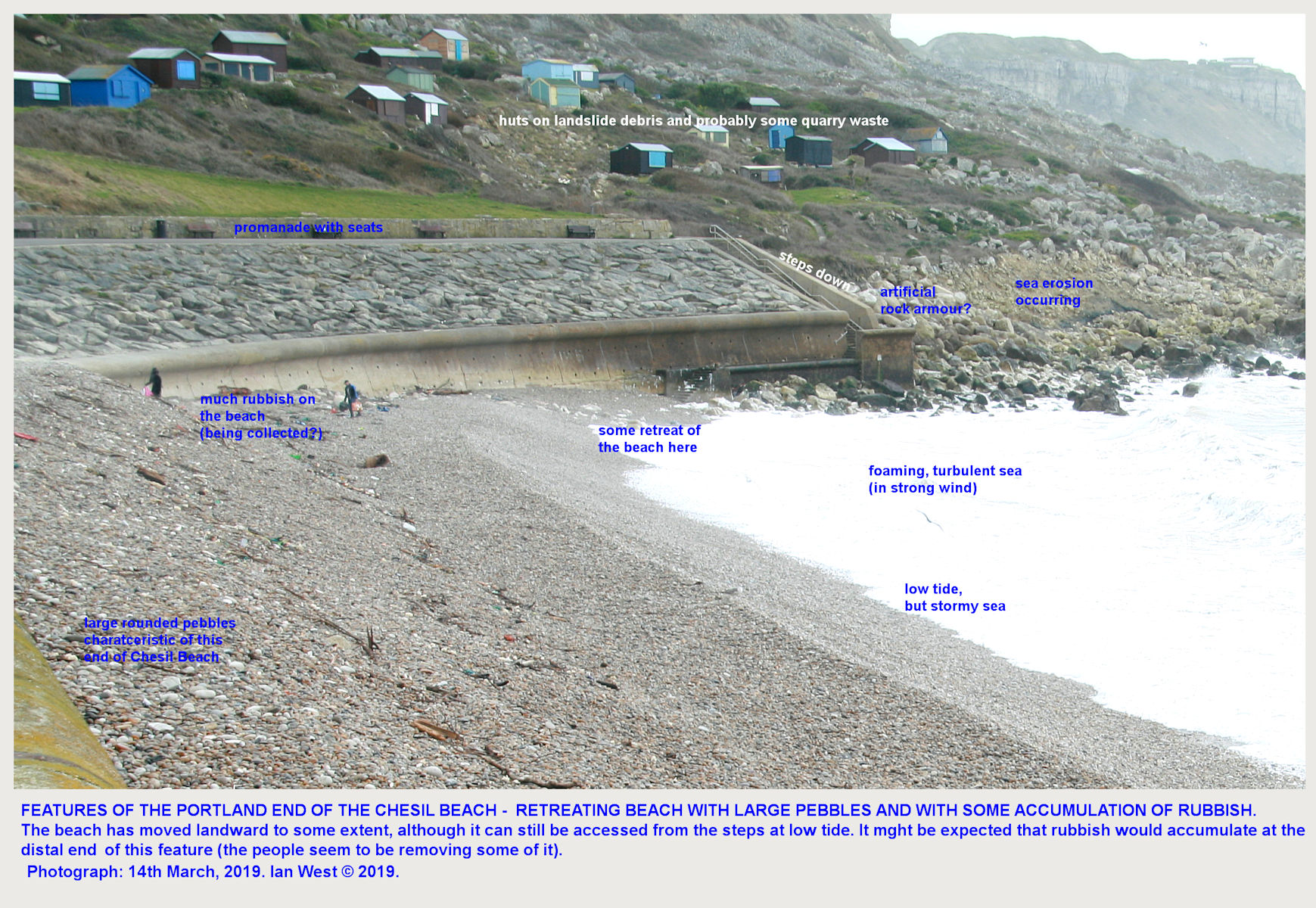 The Isle-of-Portland end of the Chesil Beach, which has retreated landward to a limited extent, and, not surprisingly, tends to accumulate drifted rubbish
