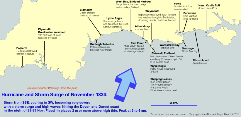 English Channel Hurricane of November 1824 - Map showing the effects on Devon, Dorset and Hampshire