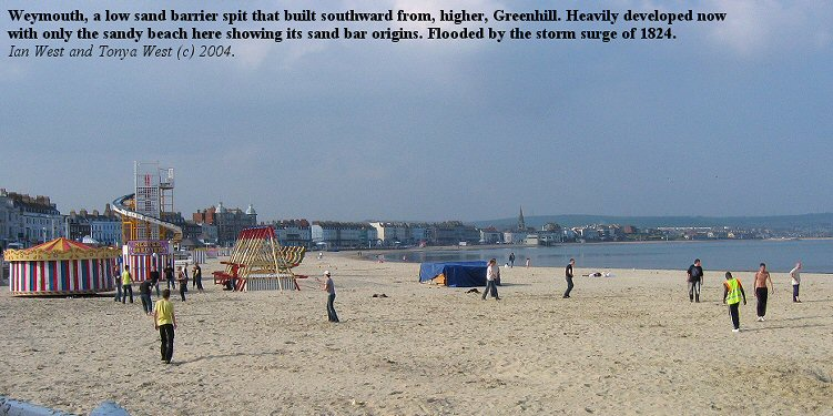 The sand barrier spit of Weymouth, Dorset, flooded in the 1824 storm surge