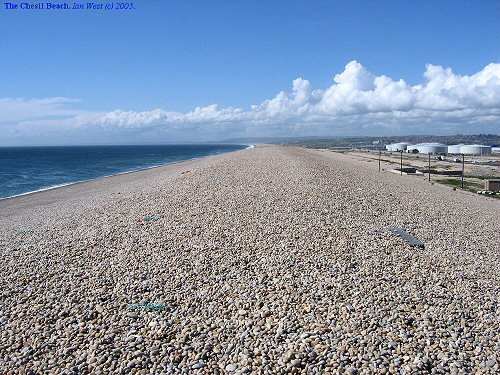 The Chesil Beach or Chesil Bank, Dorset, a general view northwestward from the Portland end